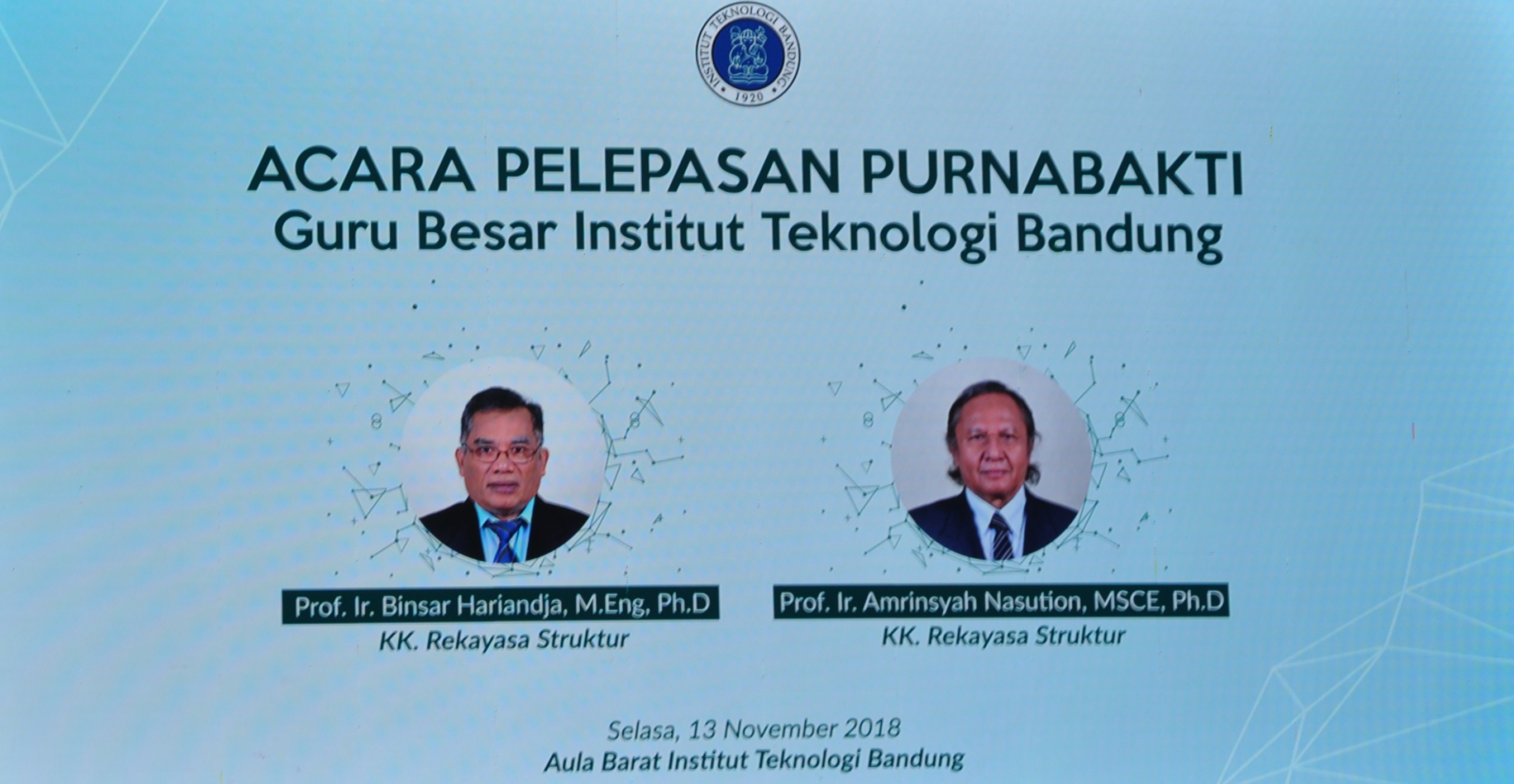 Pelepasan Purnabakti Prof. Ir. Binsar Hariandja, M.Eng., Ph.D. dan Prof. Ir. Amrinsjah Nasution, MSCE, Ph.D.