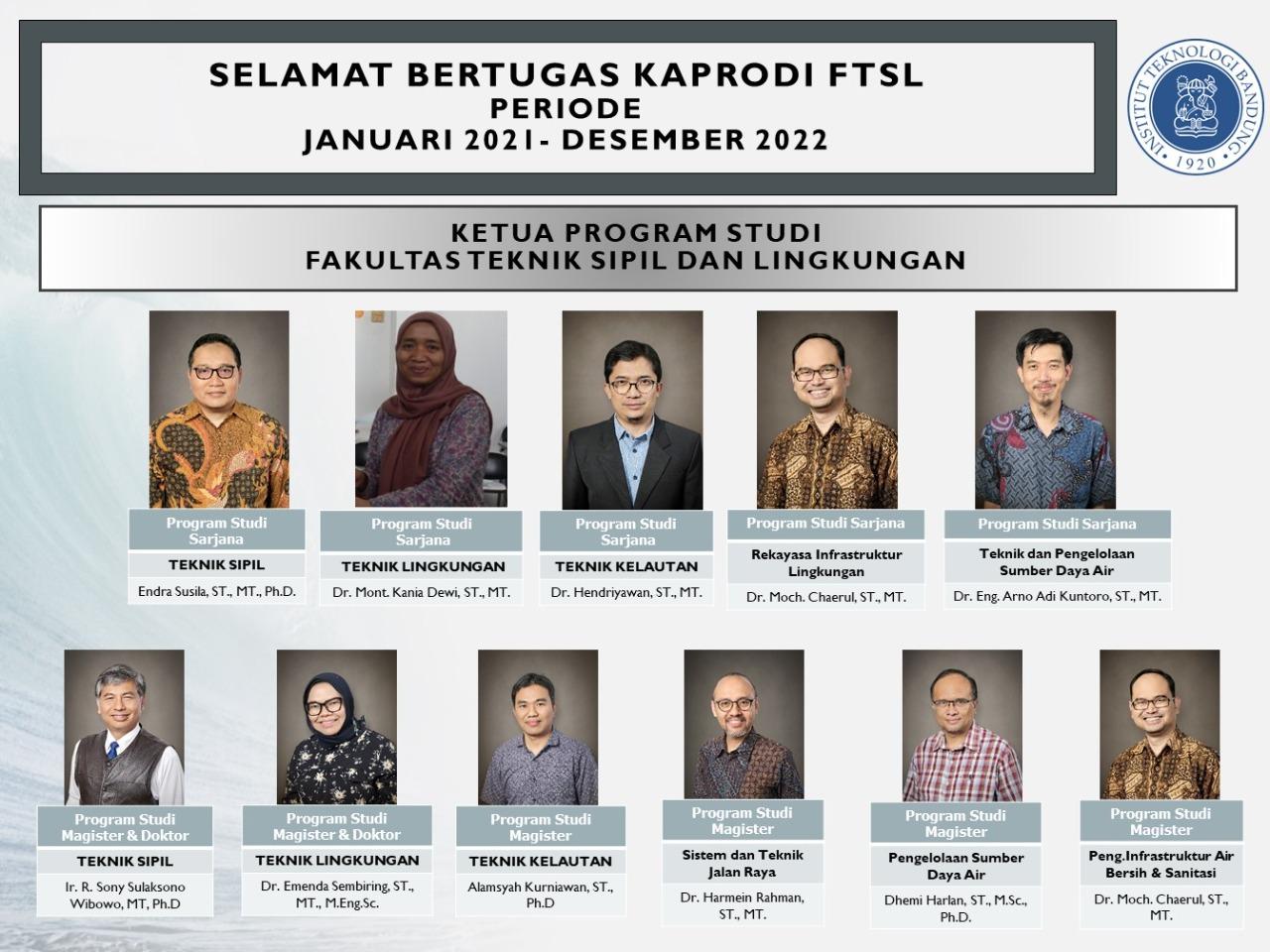 Ketua Program Studi FTSL 2021-2022